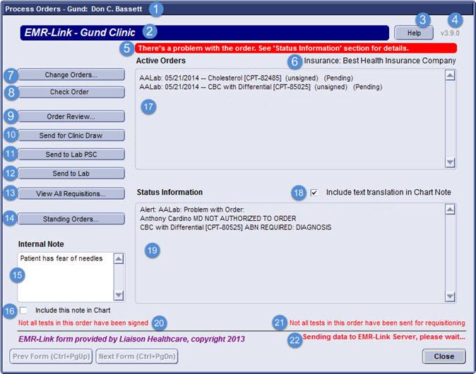 EMR-Link Help -- Process Orders Form
