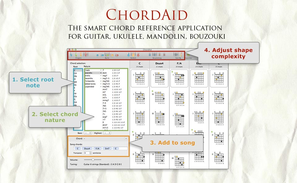 ChordAid for Mac - Chord Charts for Guitar, Ukulele, Mandolin