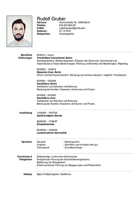 resume cv deutsch