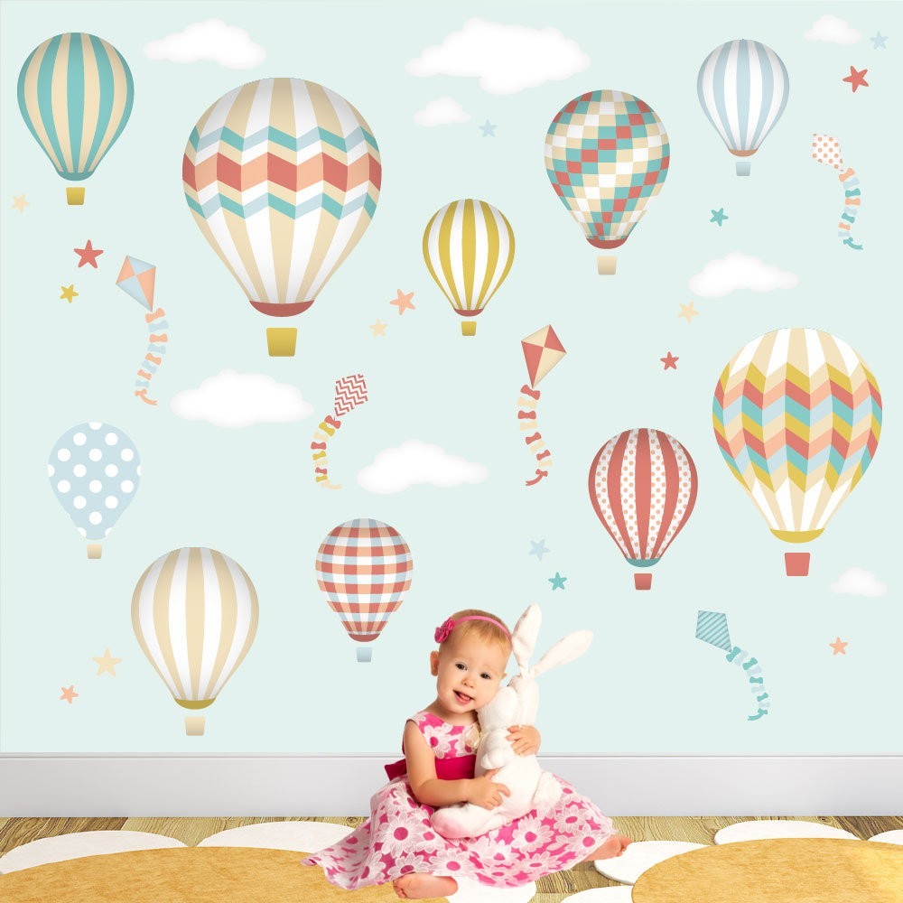 Baby Girl Nursery Wallpaper Uk Hot Air Balloon Amp Kites Wall Stickers