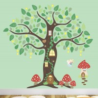 Fairy Folk Enchanted Tree Nursery Wall Art Stickers