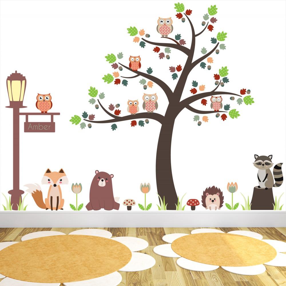 Baby Girl Nursery Wallpaper Uk New Large Woodland Animal Nursery Wall Stickers Featuring