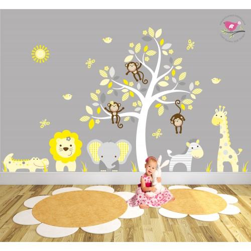 Cute Animal Print Wallpaper Safari Fabric Nursery Wall Stickers