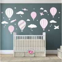 Hot Air Balloon & Jets Wall Stickers baby pink, grey, white