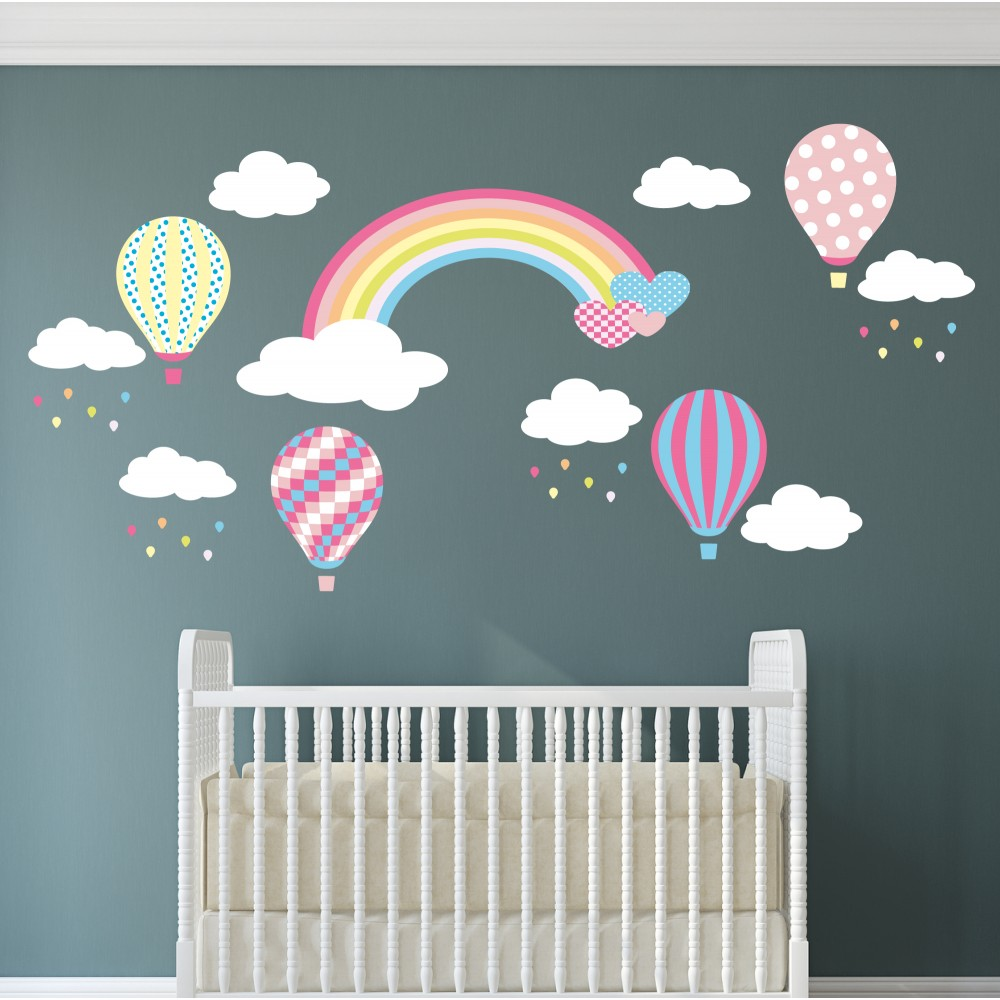 Hot Air Balloons And Raindrops Nursery Wall Stickers Download