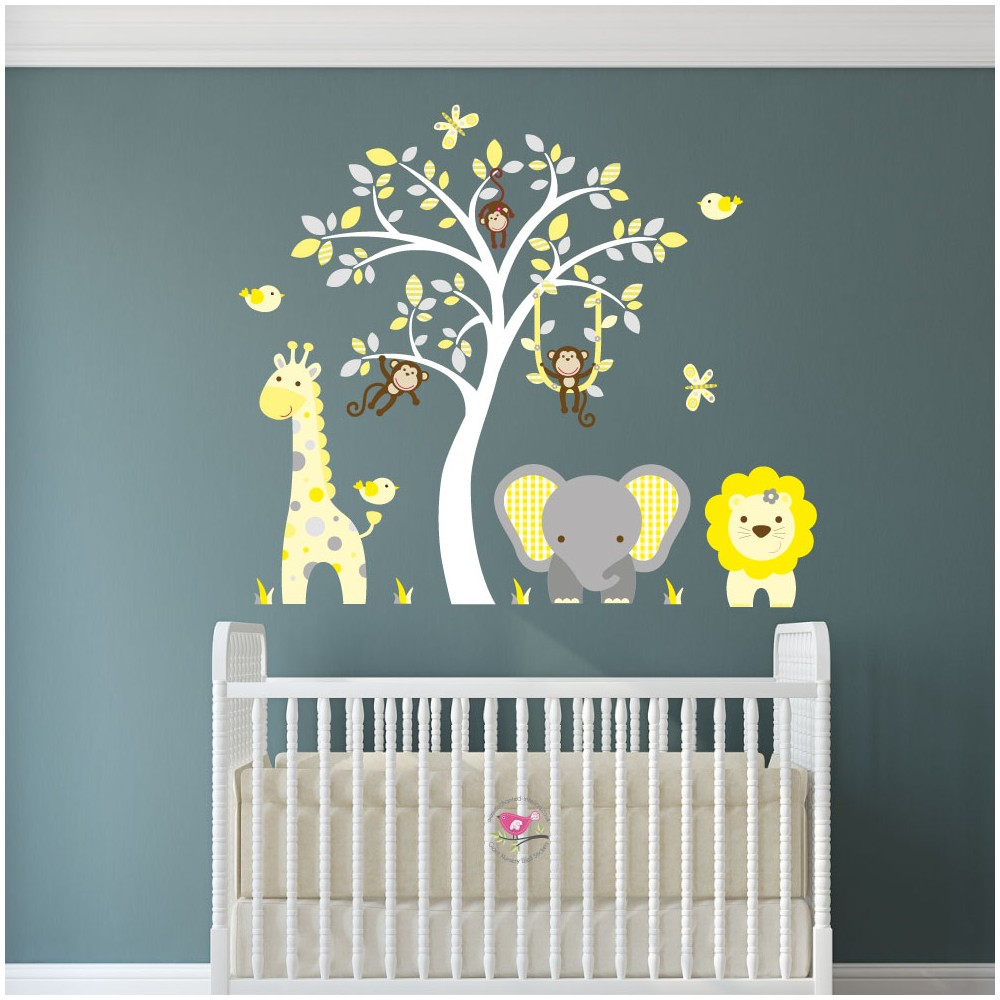 Wall Stickers Uk Nursery   Jungle Wall Art Decals Yellow And Grey Nursery.  Download Part 42