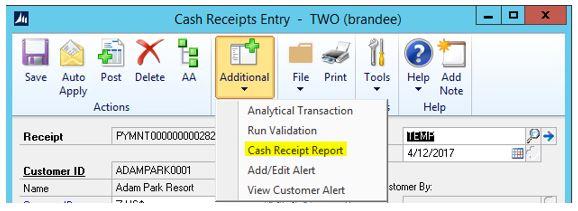 WilloWare \u2013 Cash Receipt Report Encore Business Solutions - cash receipt