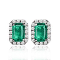 Emerald Cut Emerald Earrings Emerald Sterling Silver ...