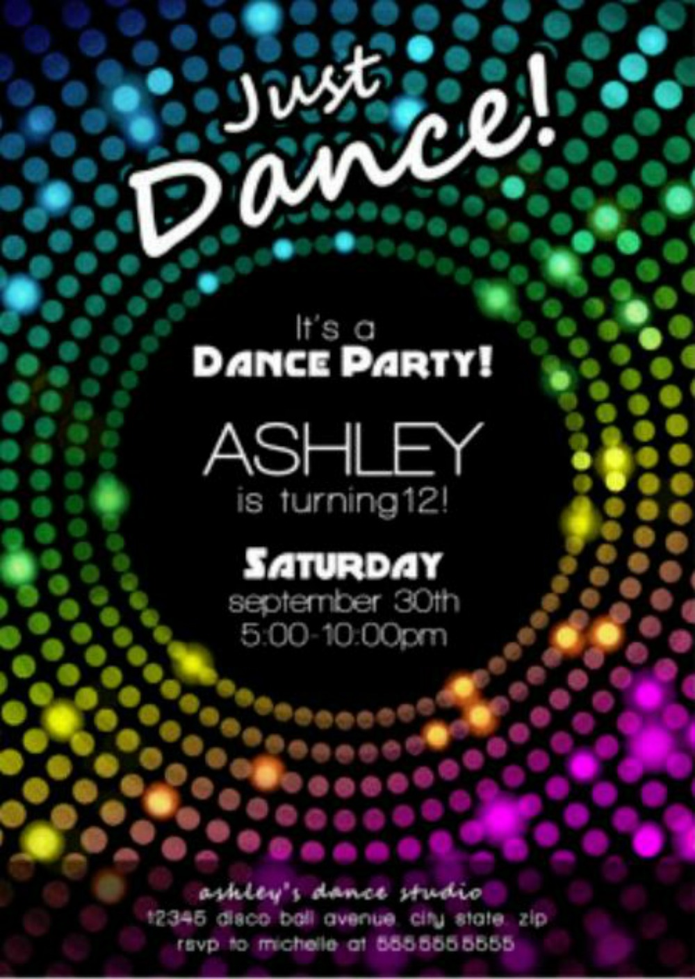 kids disco party invitations