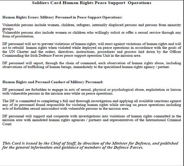 Military operational policies - code of conduct example