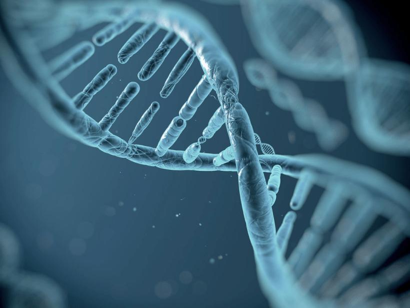 Digital rendering of damaged DNA.