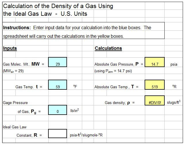Air Density Calculator Excel Spreadsheet with Ideal Gas Law