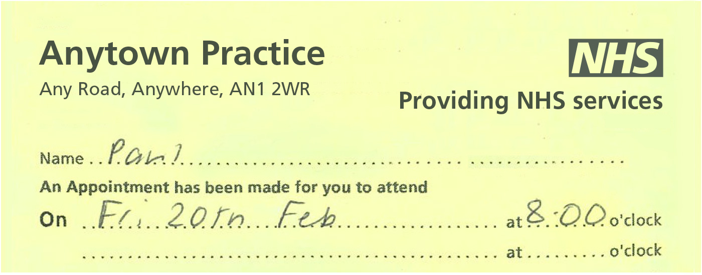 NHS Identity Guidelines NHS logo - sample appointment card template