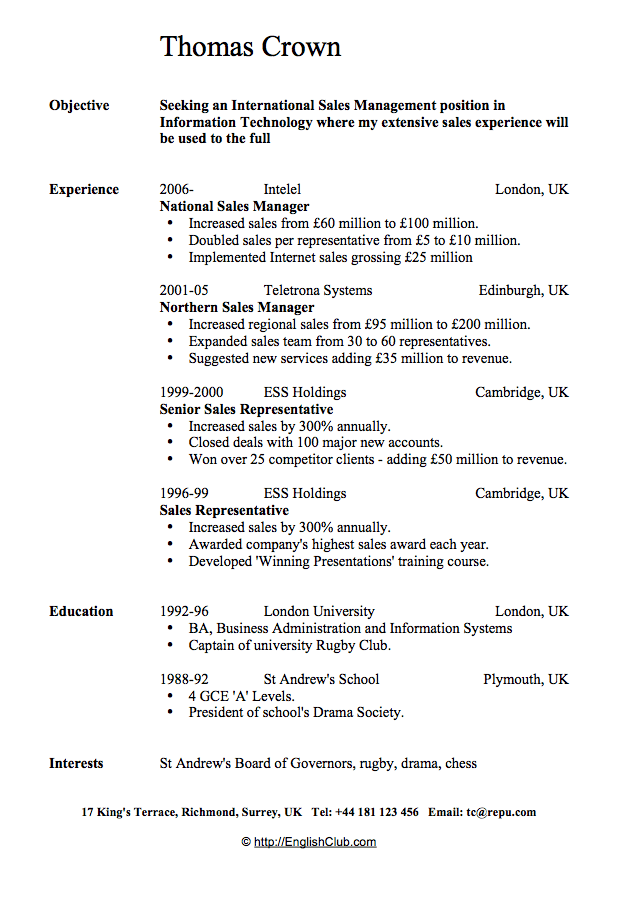 professional english esl cv