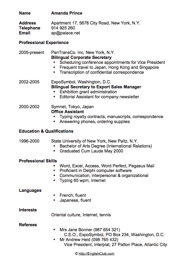 Curriculum Vitae English Fluent Example Of A Good Cv European Resources Examples Of Cv In English