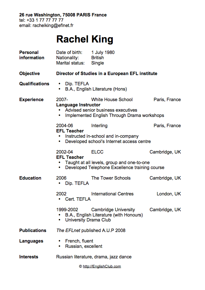 Example Of A Resume Cv profile example on resume