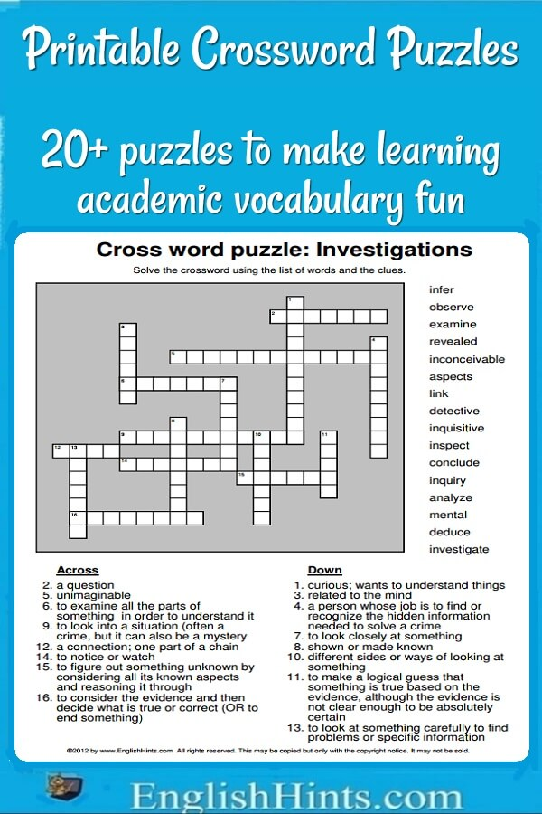 20+ Printable Crossword Puzzles Make Learning Vocabulary Fun!