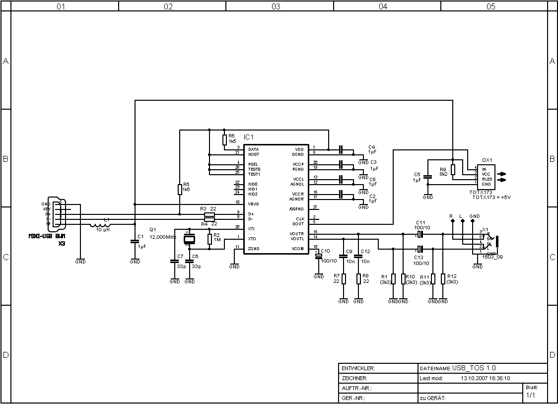 usb sound card circuit diagram