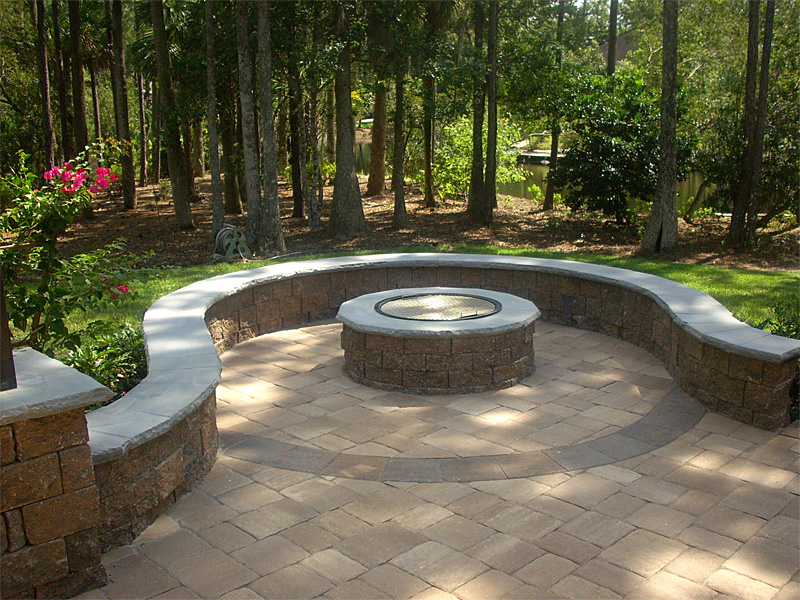 PATIO SEATING IDEAS Brick Paver Patio, Custom Firepit, Retaining - Design Of Retaining Walls Examples