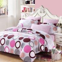 White Gray Purple and Hot Pink Circle and Polka Dot Print