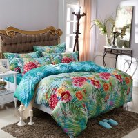 Aqua Blue Green and Red Tropical Fern Botany and Flower ...