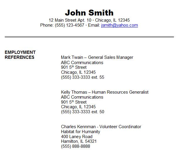 format references on resumes