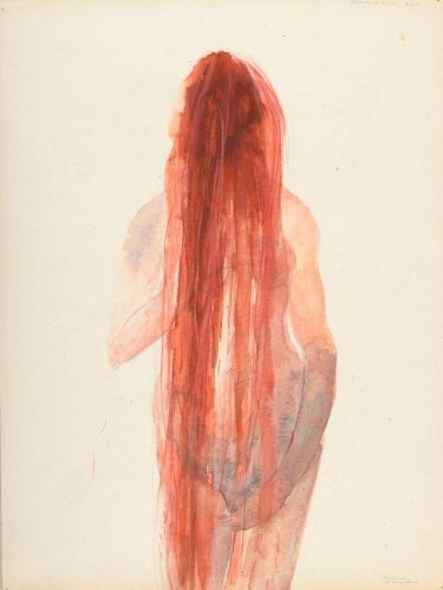 Berlinde De Bruyckere, Bloedend haar, 2000. graphite, aquarelle et pastel gras sur papier Collection privée ©Ela Bialkowska