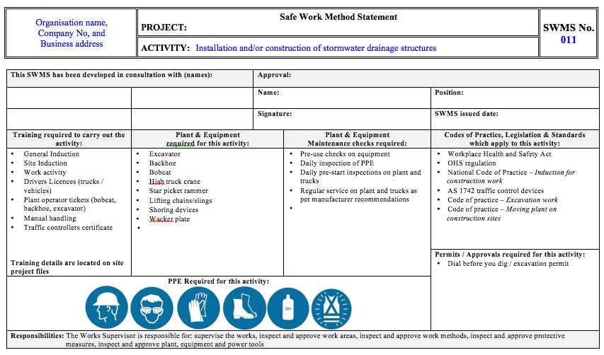 Work Statement Template House – Method Statements Examples