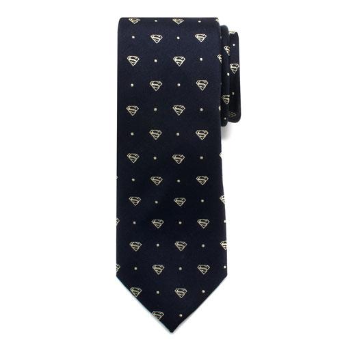 Superman Pin Dot Boys Large Silk Tie