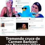 Tremendo cruce de Carmen Barbieri con Nazarena Vélez en Twitter