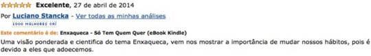 Depoimento de Dr. Luciano Stancka no site da Amazon