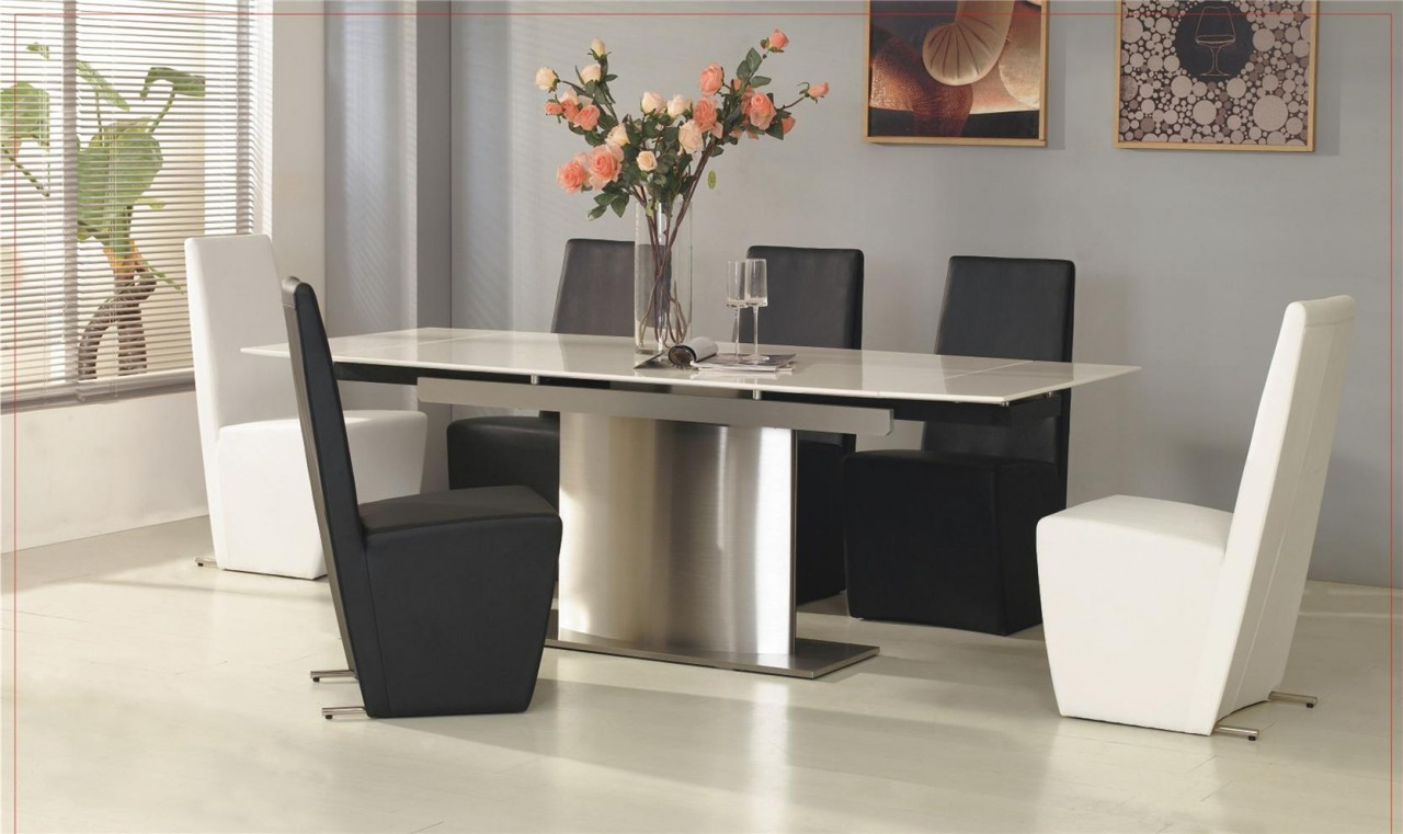 glacier extending contemporary white marble dining table and 6 chairs 7454 p