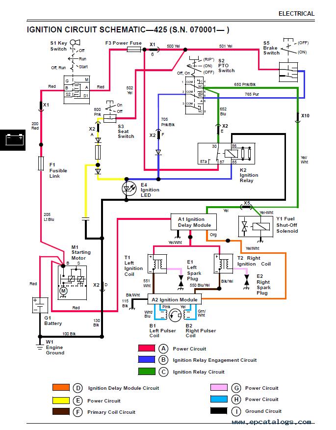 john deere 445 garden tractor wiring diagram