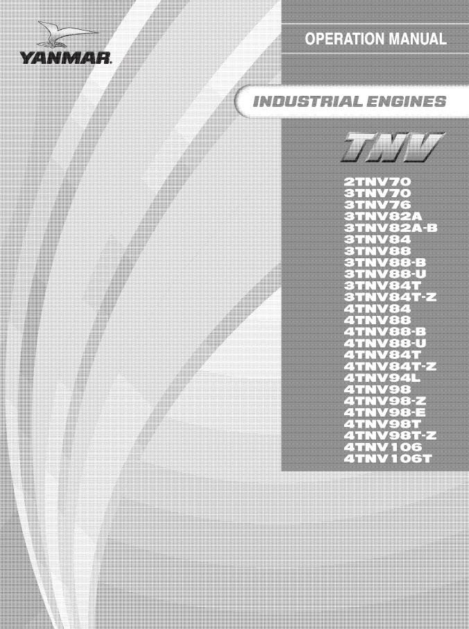 Yanmar Industrial Engines TNV John Deere Operation Manual