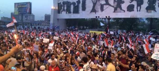 Images from August 12th Friday protest in Baghdad's Tahrir Square, shared on social media by activist Ahmad Abd al-Hussein.