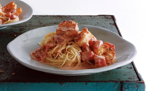 Capellini with Shrimp and Creamy Tomato Sauce recipe