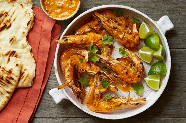 Grilled Butterflied Prawns with Sriracha-Lemongrass Butter recipe