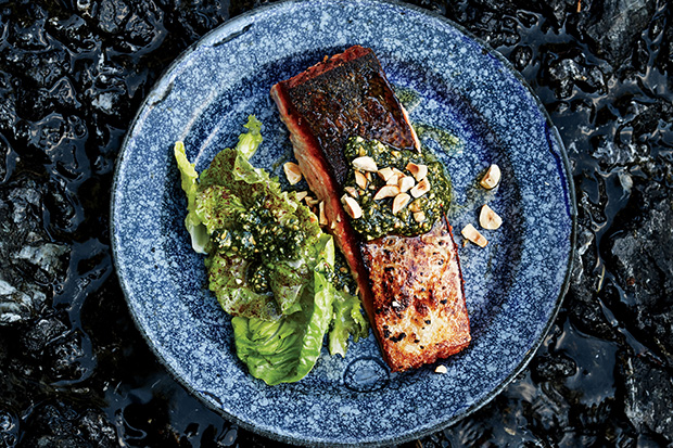 Butter-Basted Salmon with Hazelnut Relish recipe