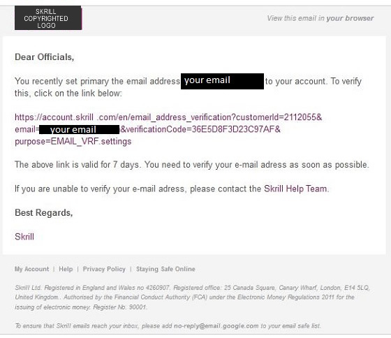 E wallet Scam Emails - Skrill, Moneybookers - valid emails