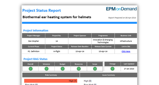 Understanding Reporting in Microsoft PPM - EPM - project status sheet