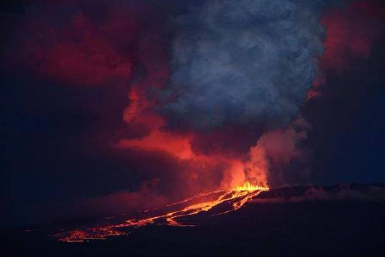 Eruption du volcan Wolf aux Galapagos en mai 2015
