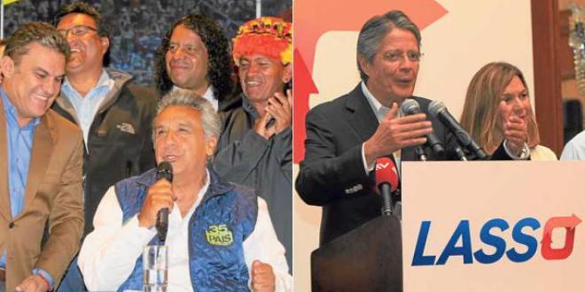 Lenin Moreno (à gauche) du mouvement socialiste Alianea Pais et Guillermo Lasso, du parti conservateur CREO