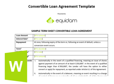 Convertible Note Template | Equidam Business Valuation