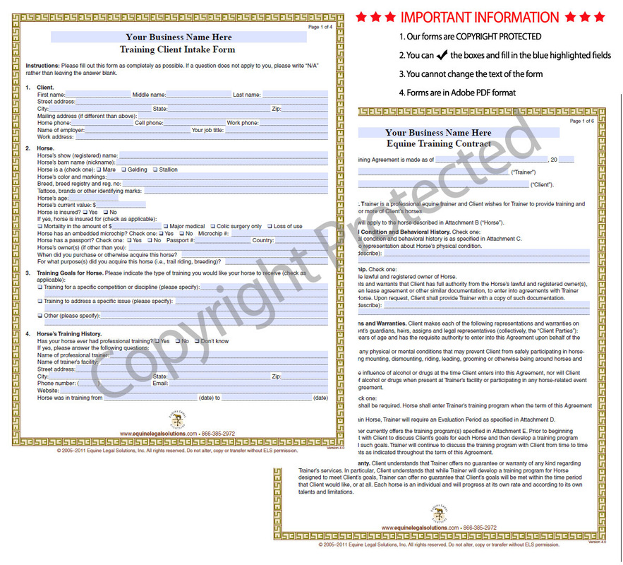 Equine Legal Solutions Whatu0027s In Our Forms Training - Equine - training agreement contract