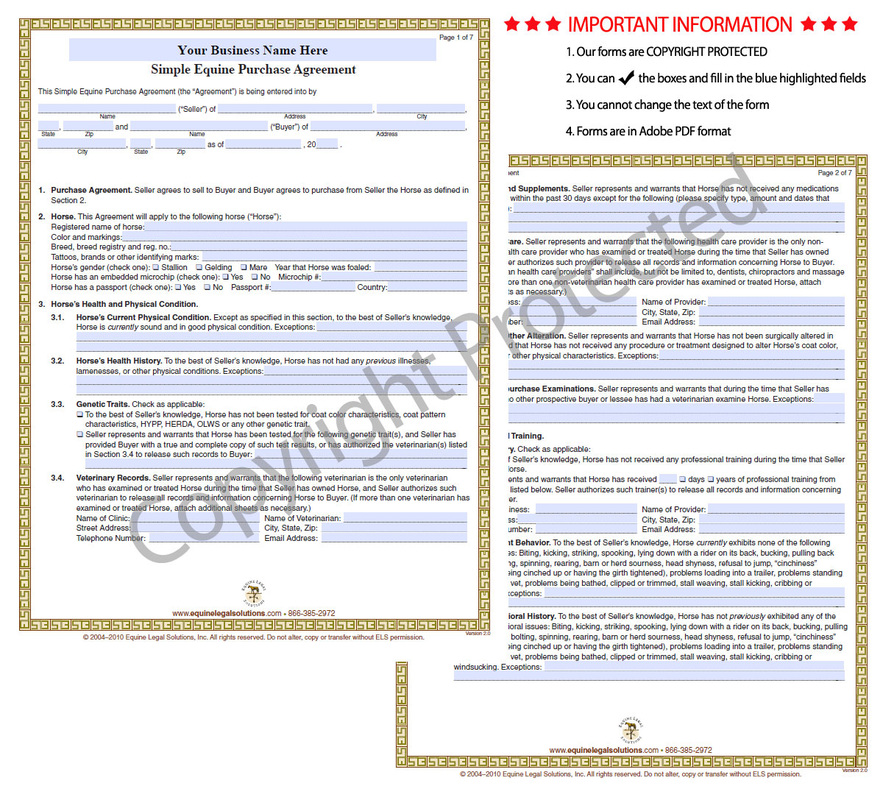 Equine Legal Solutions What\u0027s In Our Purchase Forms - Equine Legal