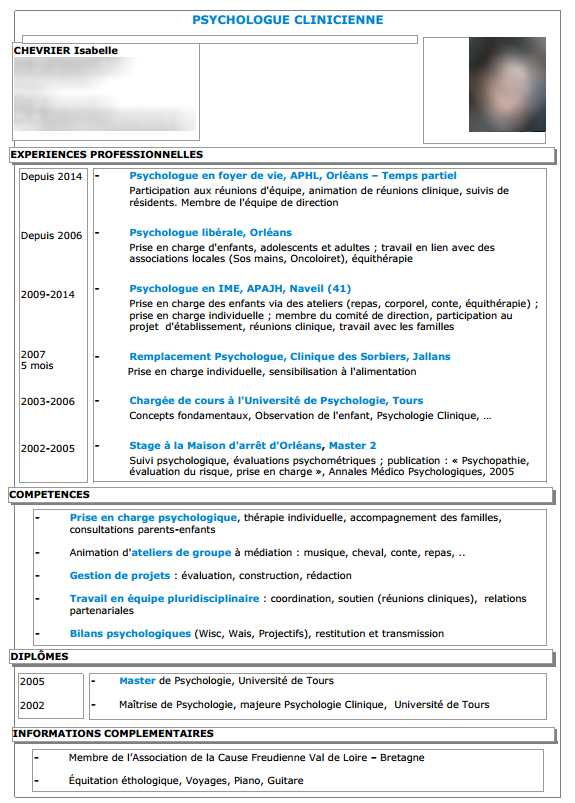 cv modele psychologue clinicienne