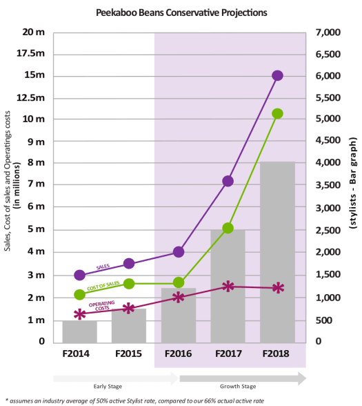 Projected growth of BEAN's network of stylists, sales costs and operating costs.