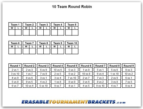 10 Team Round Robin Tournament Bracket