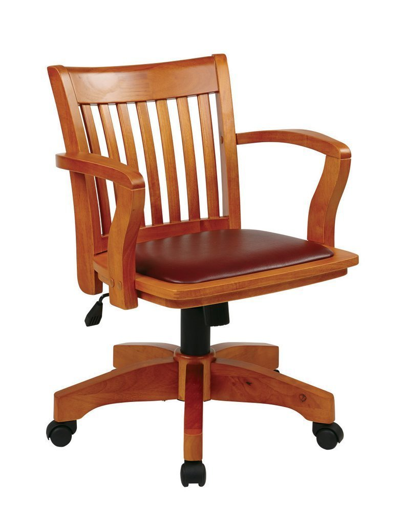 Deluxe Wood Banker39s Chair With Vinyl Padded Seat In Fruit