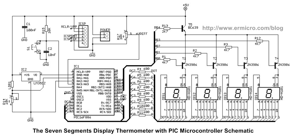 Seven Segment Display Thermometer with PIC Microcontroller ermicroblog